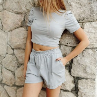 Conjunto Cropped CROWN Gris Heve