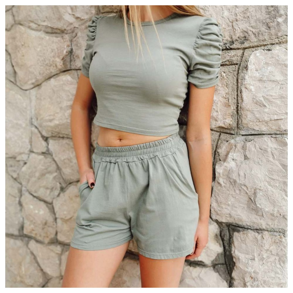 Conjunto Cropped CROWN Khaki Heve