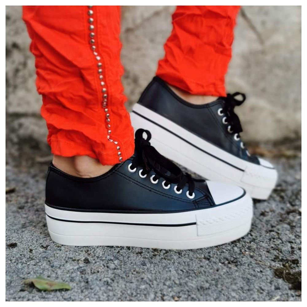 Sneaker Polipiel Triple Suela Negro Heve