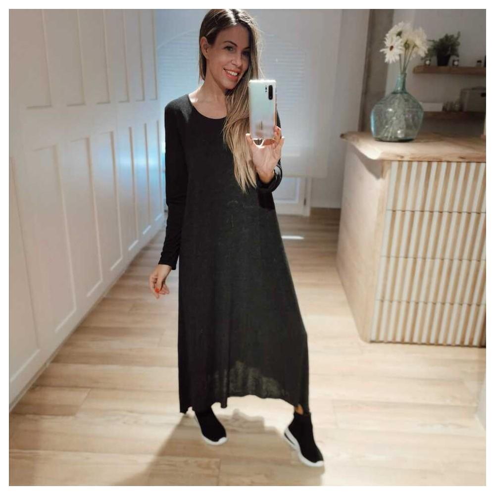 Vestido Punto Fino BRINA Negro Heve