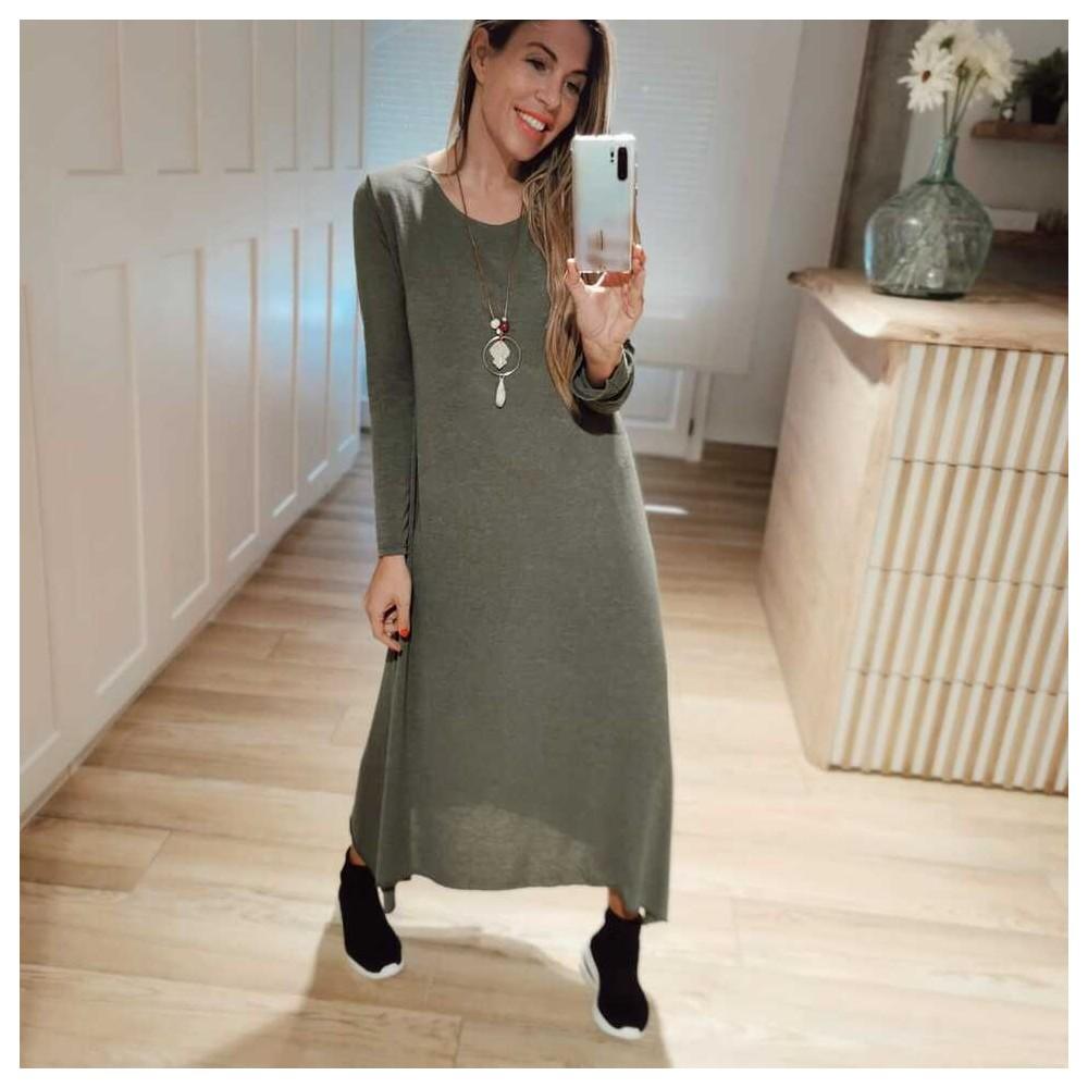 Vestido Punto Fino BRINA Verde Heve