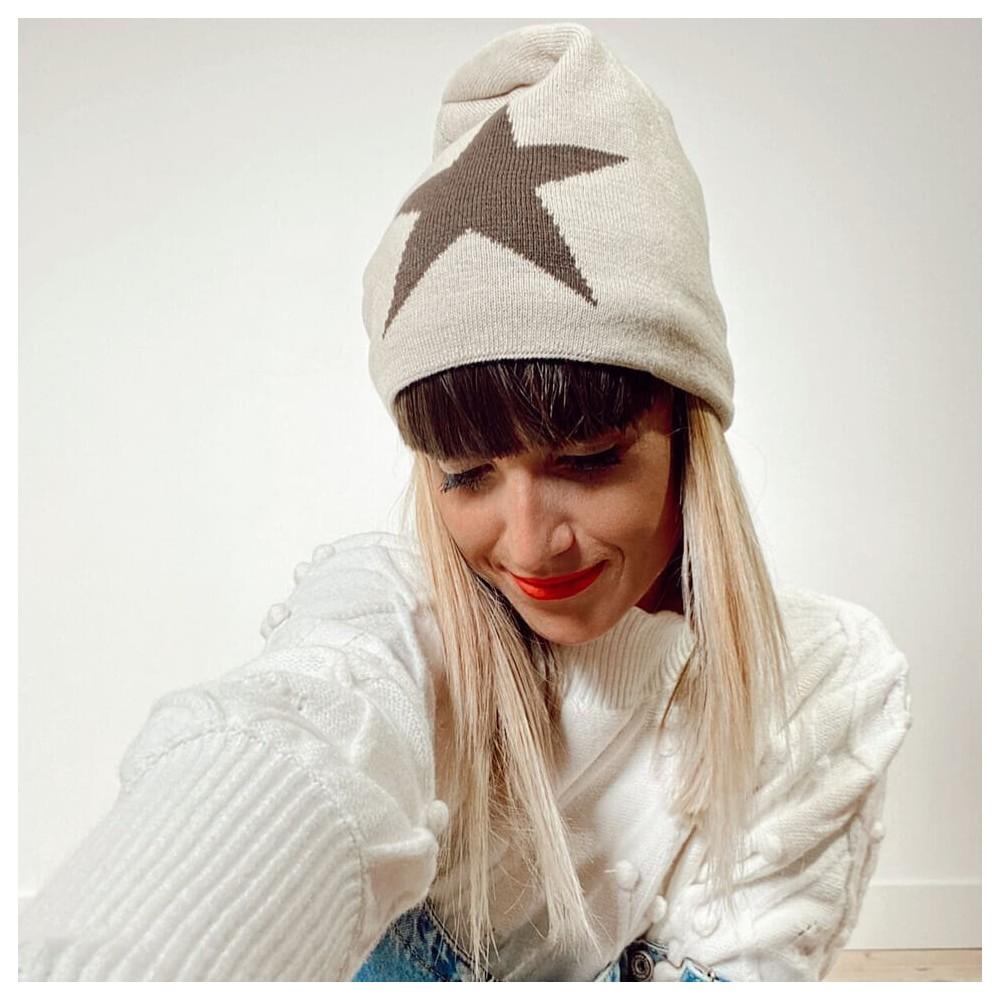 Gorro Beanie Estrella Beige Heve