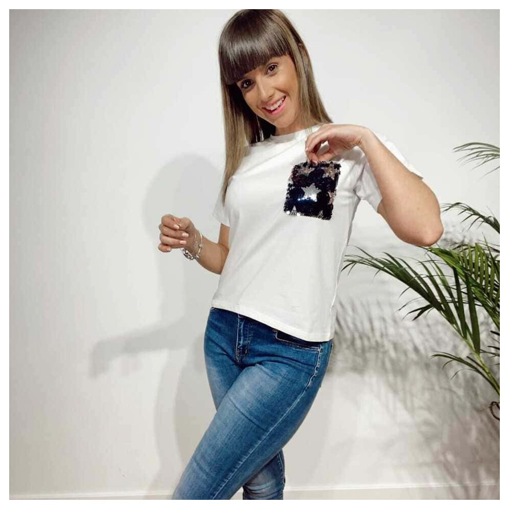 Camiseta Lentejuelas MILLARAY Blanco Heve