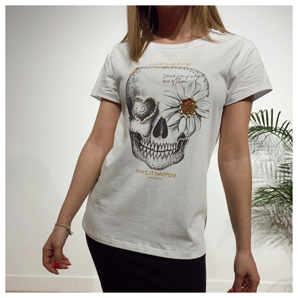 Camiseta Calavera MARGHERITE Blanco Heve