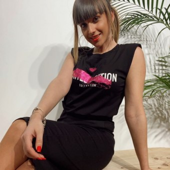 Camiseta Hombreras LIMITTED EDITION Negro/Rosa Heve
