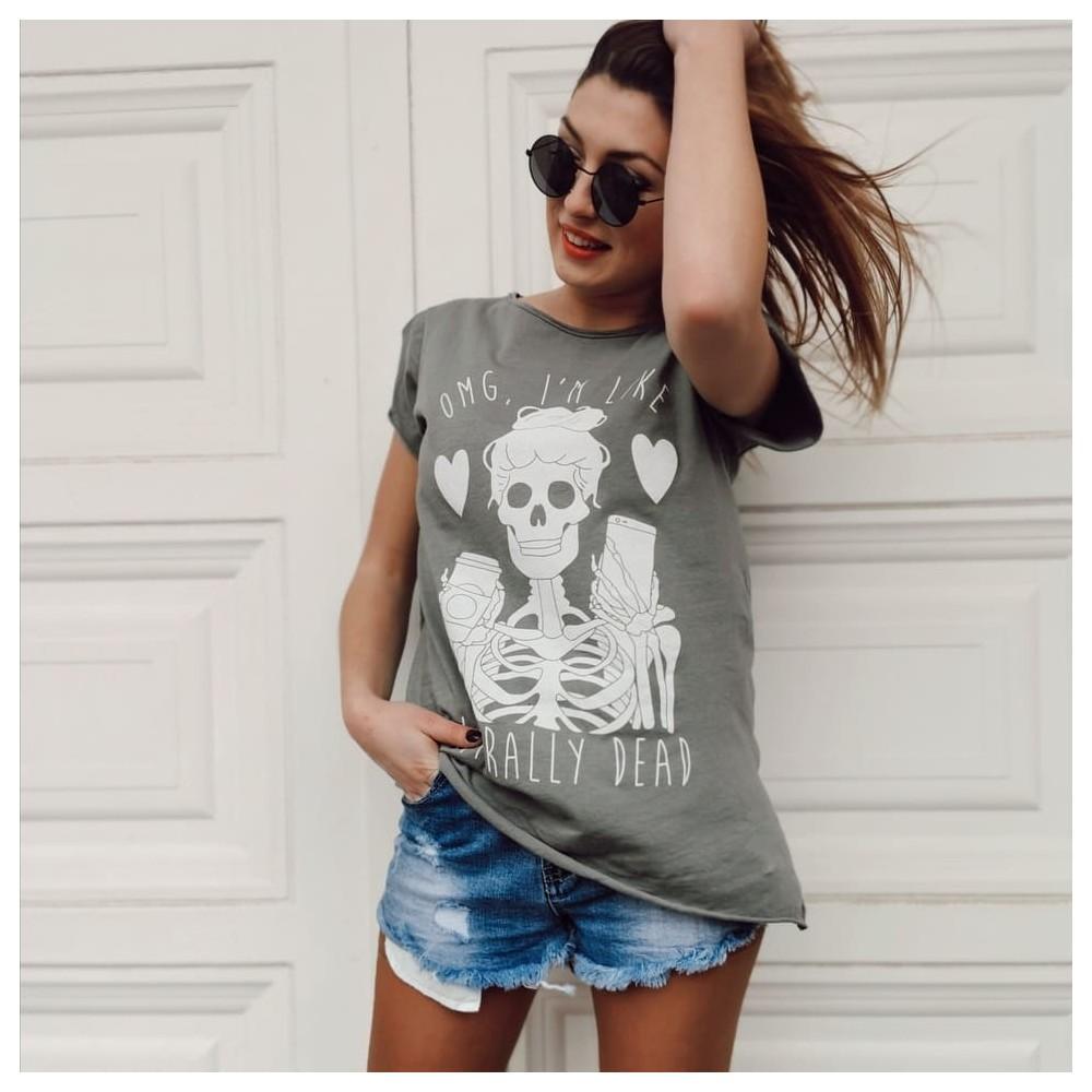 Camiseta Calavera OMG Gris Plomo Heve