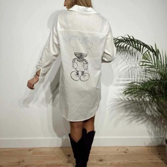 Camisa Extra-Long MICKEY THINKING Blanco Heve