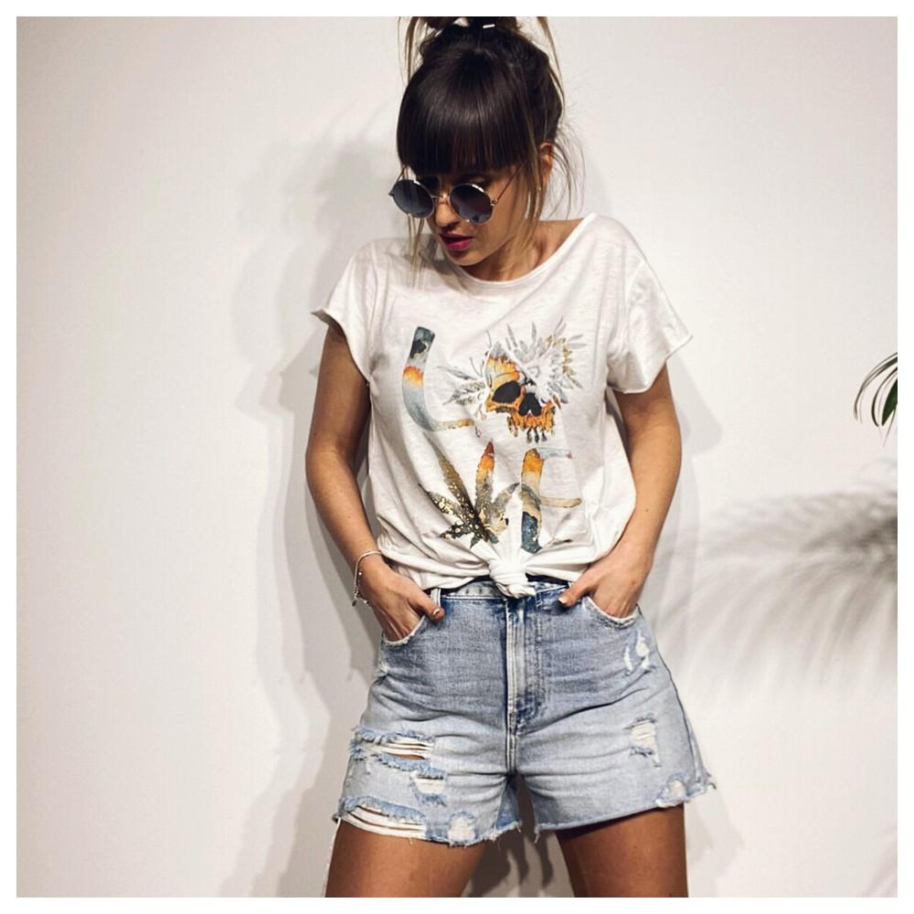 Camiseta Algodón SKULL LOVE Blanco Heve