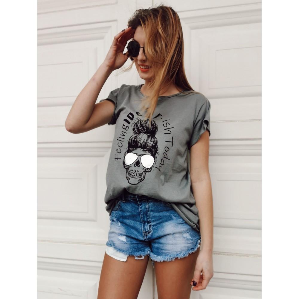 Camiseta Calavera IDGAF Silver Gris Heve