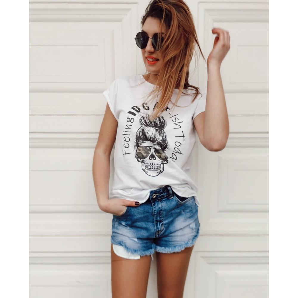 Camiseta Calavera IDGAF Camuflaje Heve