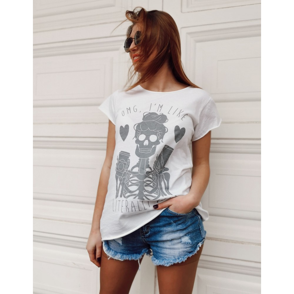 Camiseta Calavera OMG Blanco/Gris Heve