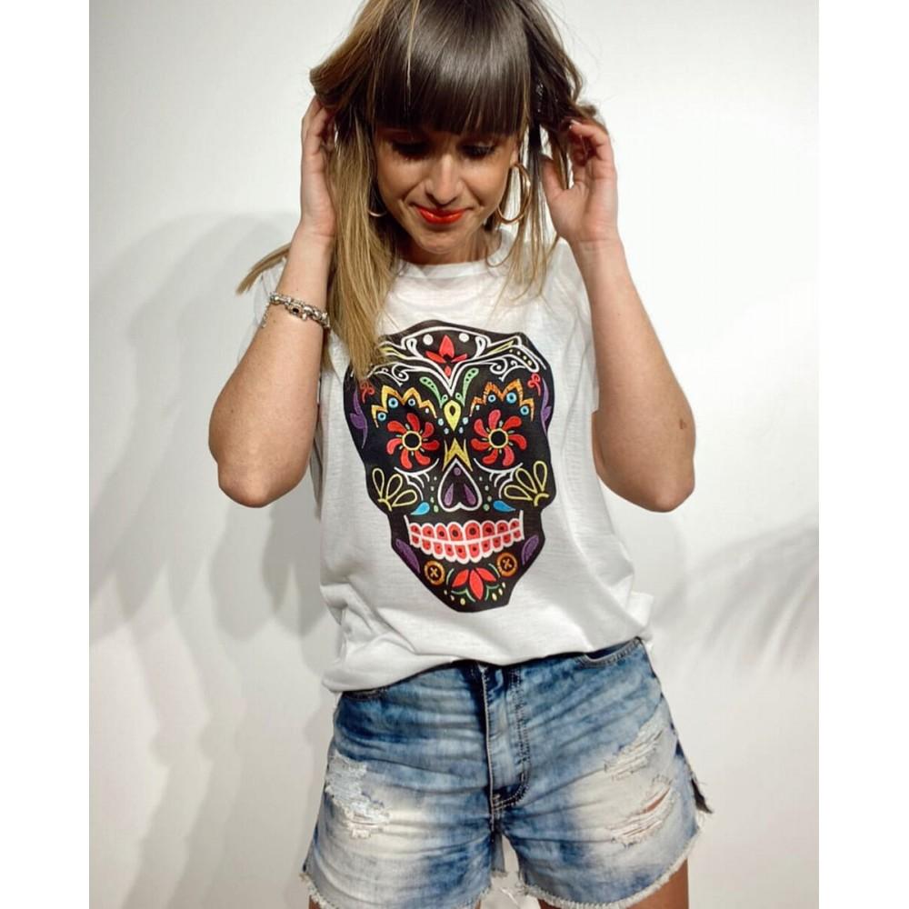 Camiseta Calavera MORELIA Blanco Heve