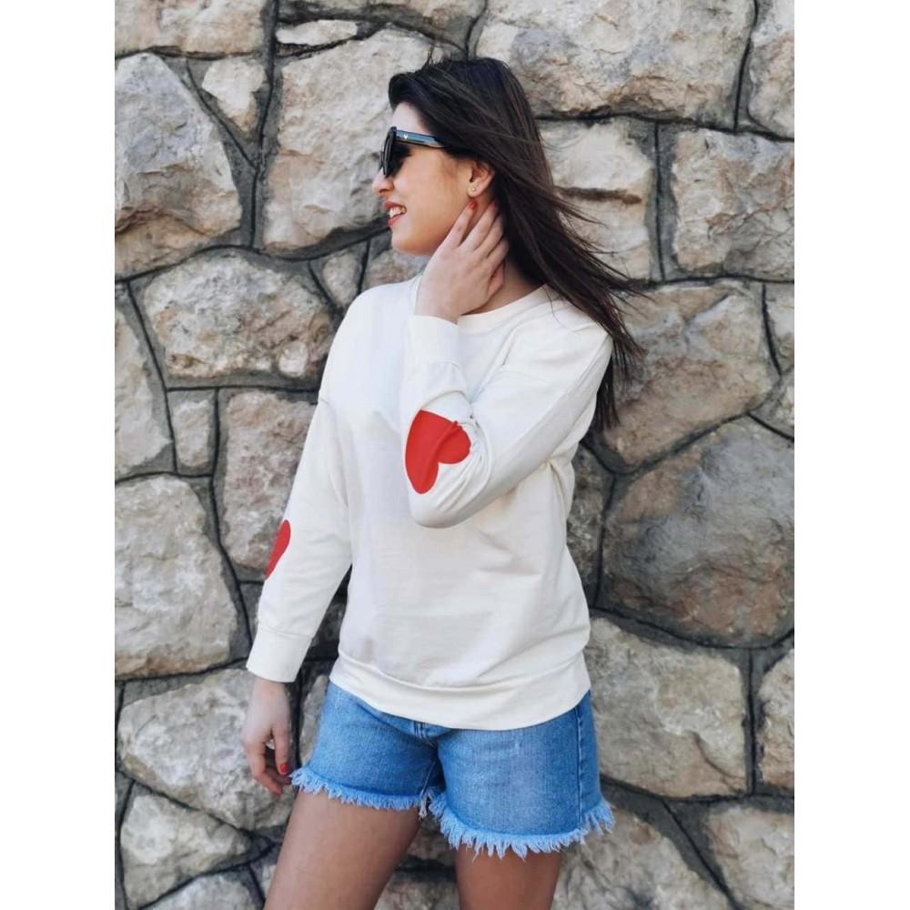 Sudadera Corazón WONDERLAND Crudo Heve