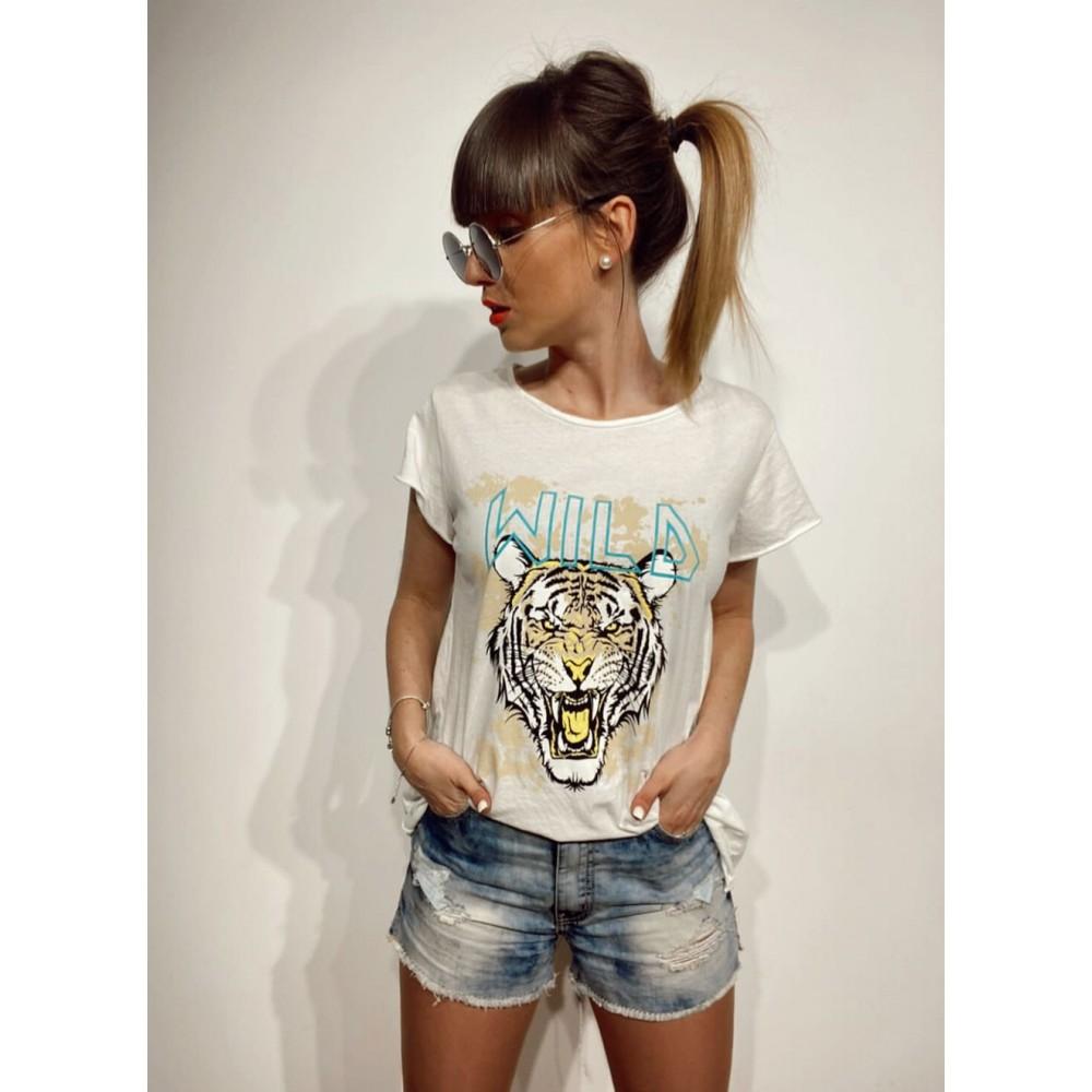 Camiseta Algodón WILD TIGER Blanco Heve