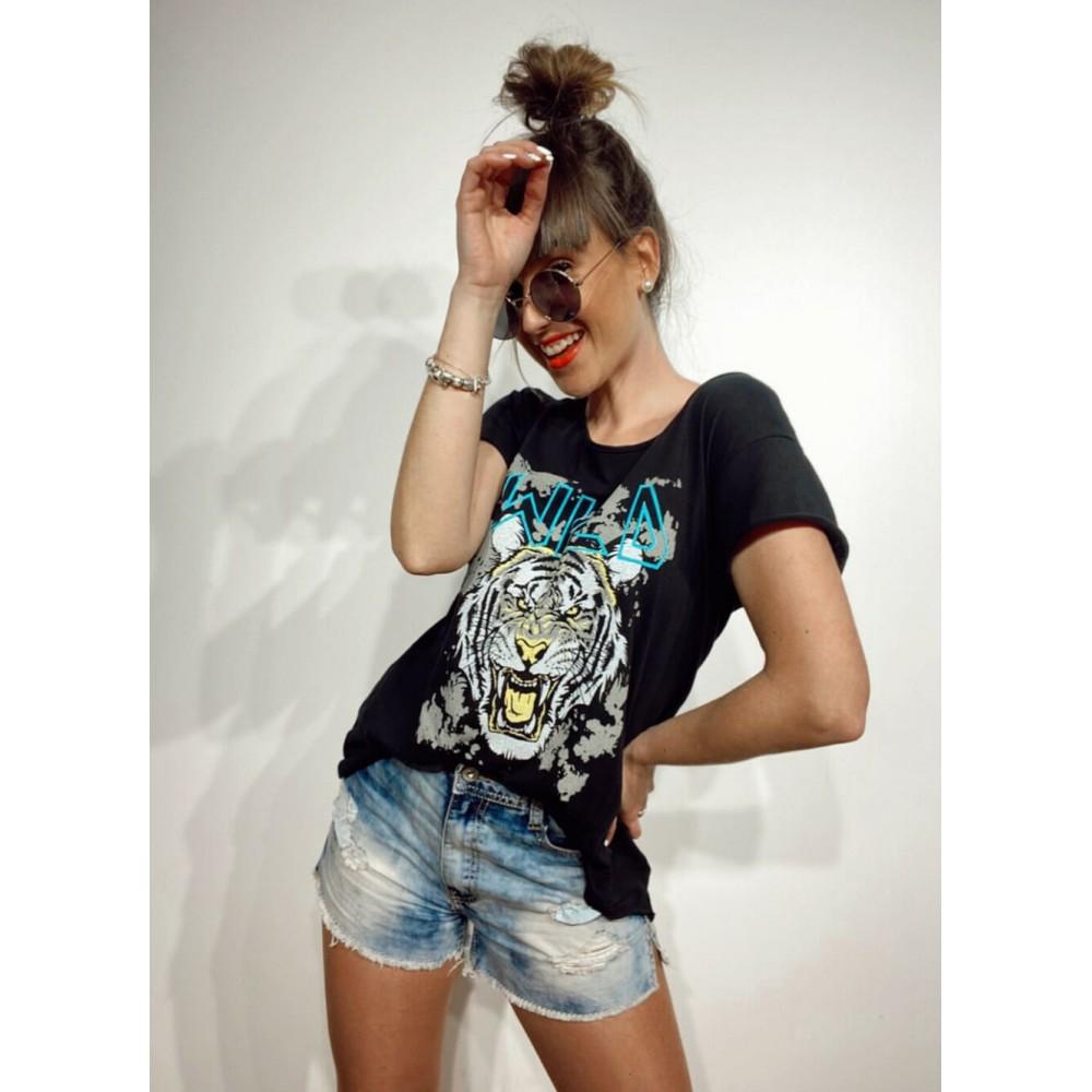 Camiseta Algodón WILD TIGER Negro Heve