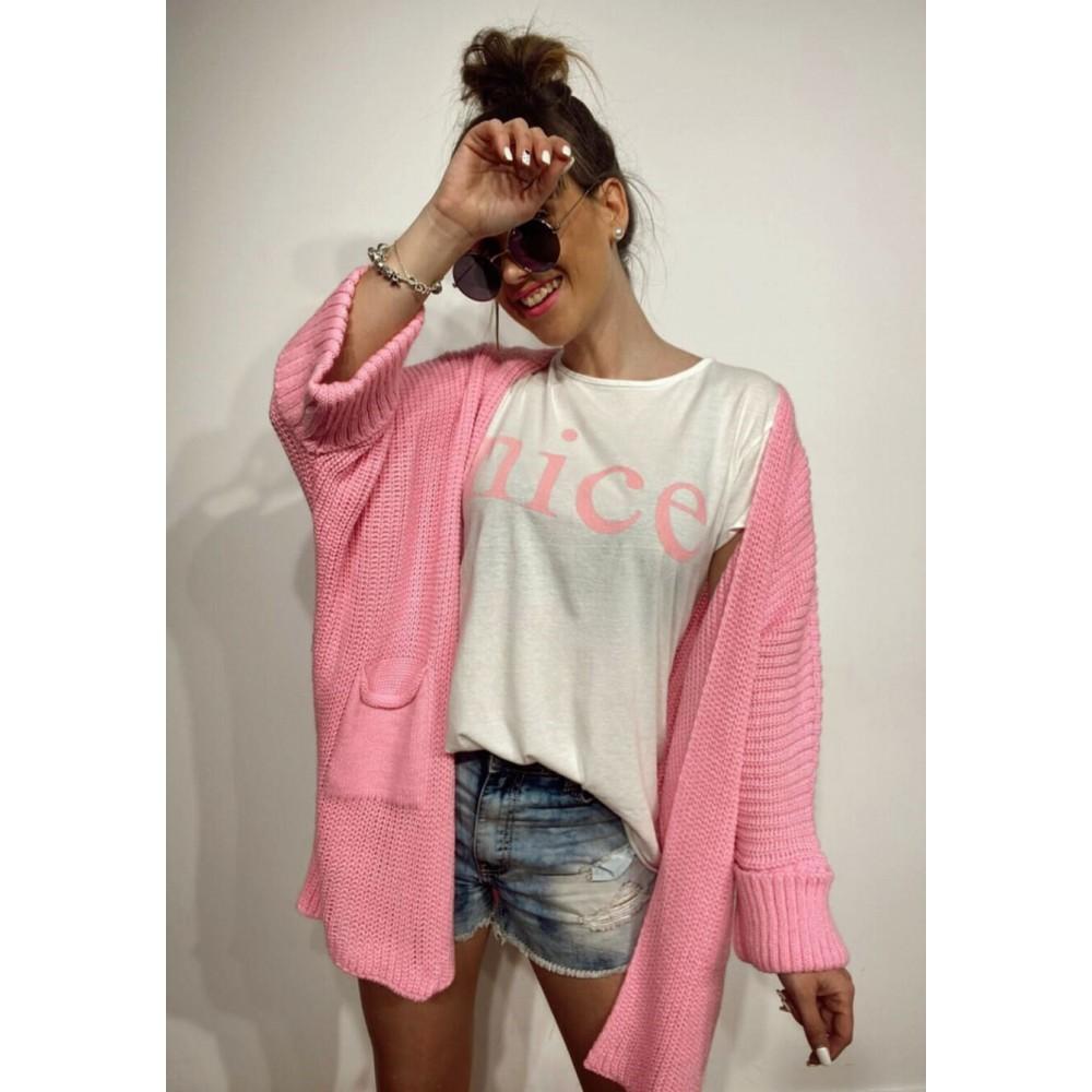 Camiseta Mensaje NICE Blanco/Rosa Heve