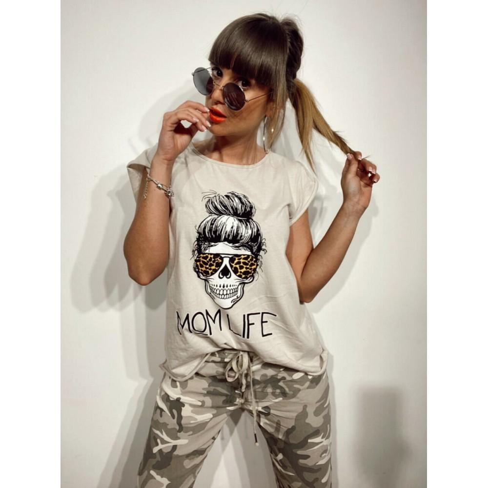 Camiseta Calavera MOM LIFE Beige Heve