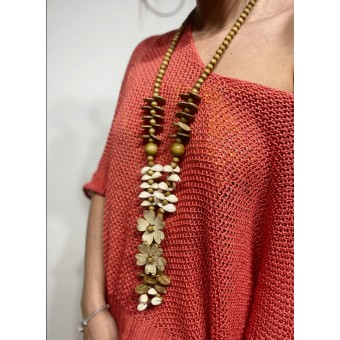 Collar Abalorios y Flores Taupe Heve