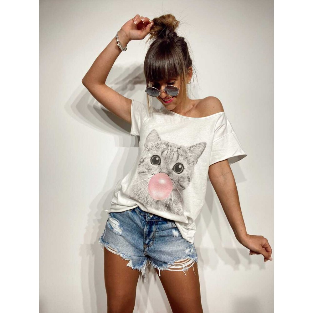 Camiseta Algodón BUBBLE CAT Blanco/Rosa Heve