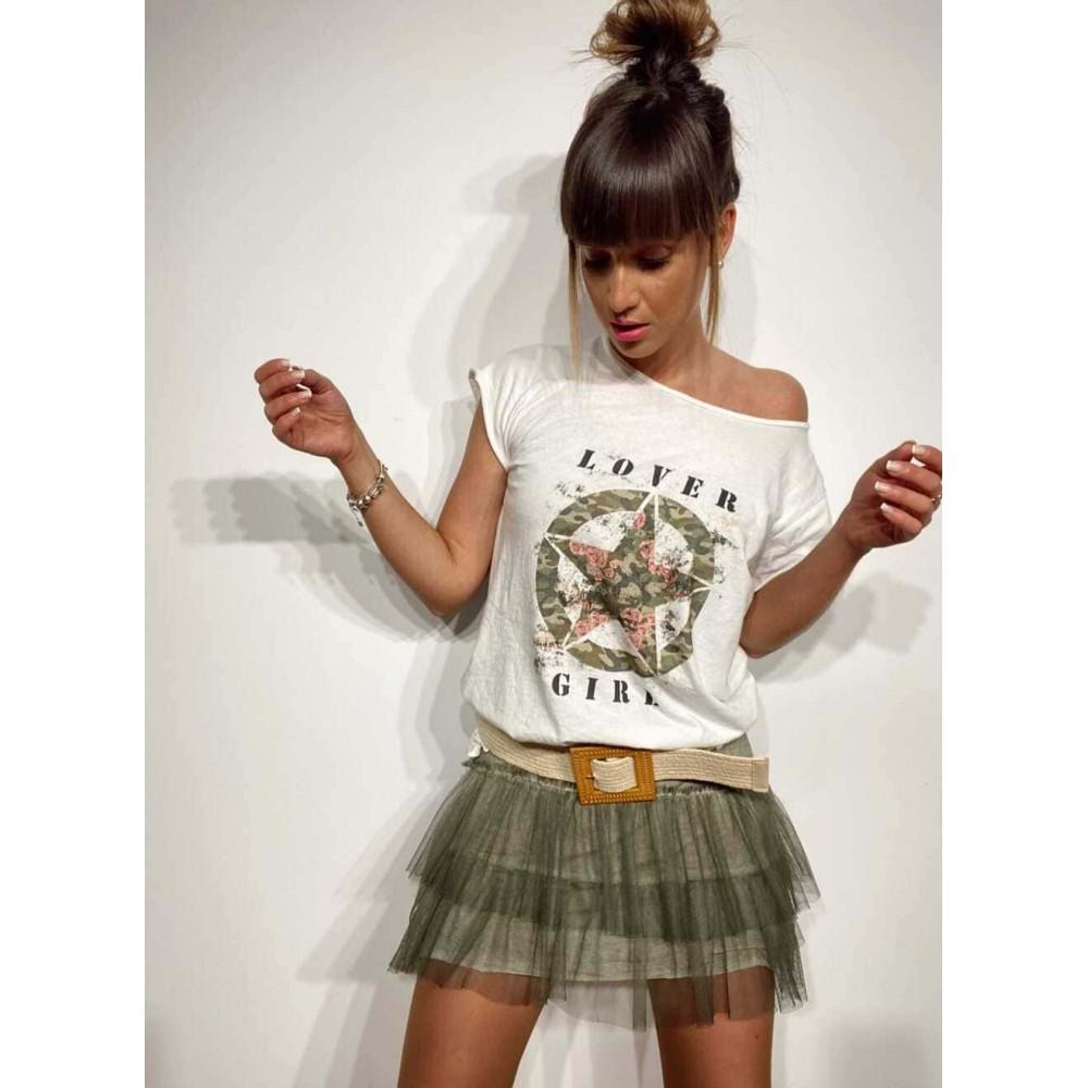 Camiseta Algodón LOVER GIRL Blanco Heve