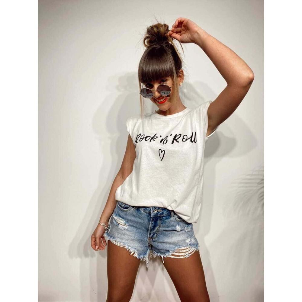 Camiseta Hombreras ROCK´N´ROLL Blanco Heve