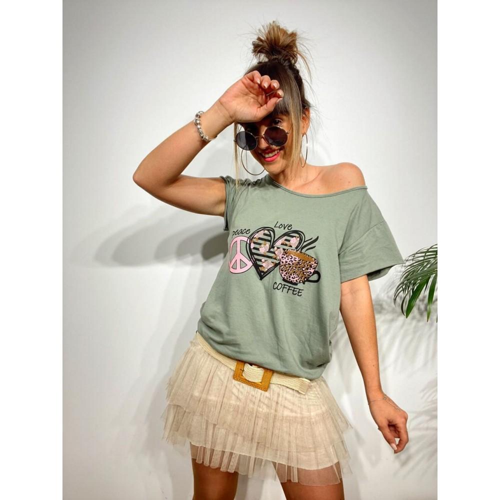Camiseta Algodón PEACE, LOVE AND COFFEE Khaki Heve