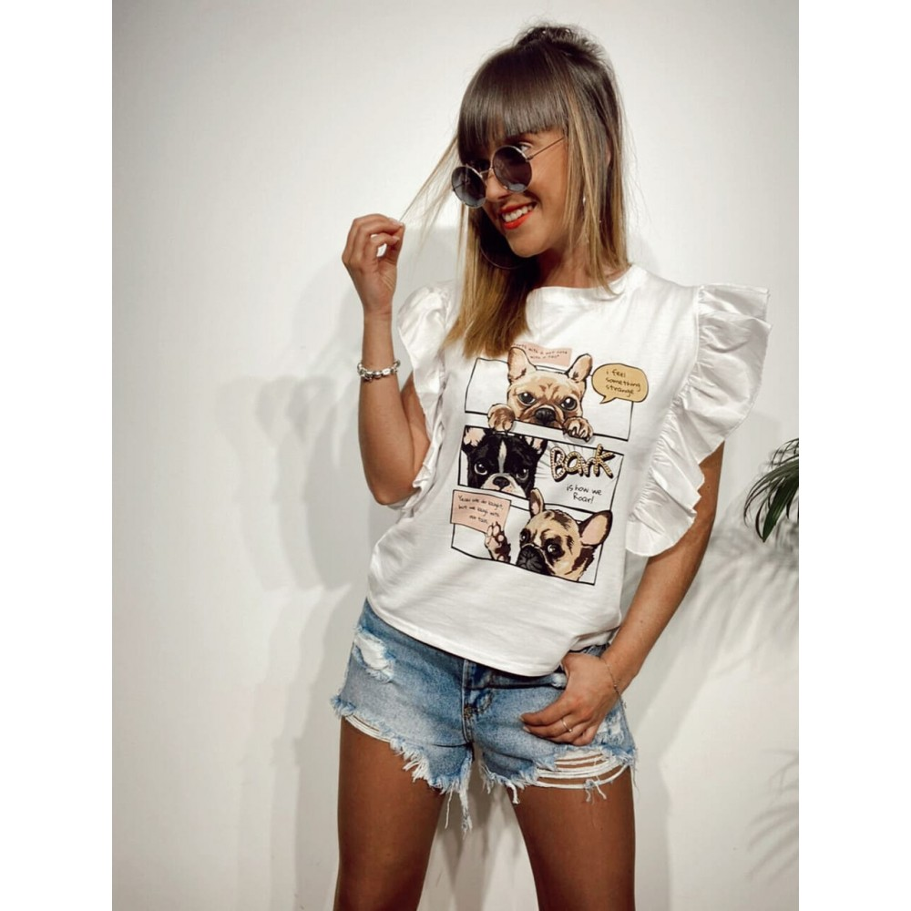 Camiseta Volante BARK Blanco Heve