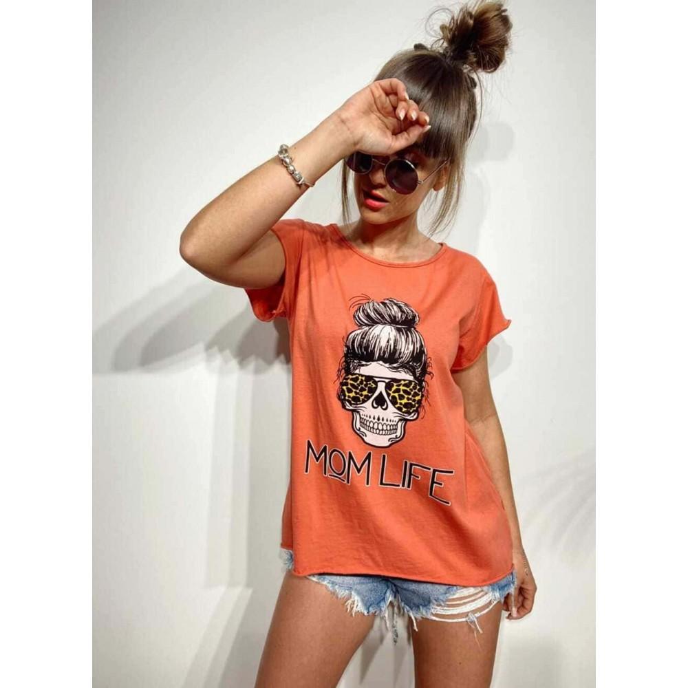 Camiseta Calavera MOM LIFE Coral Heve