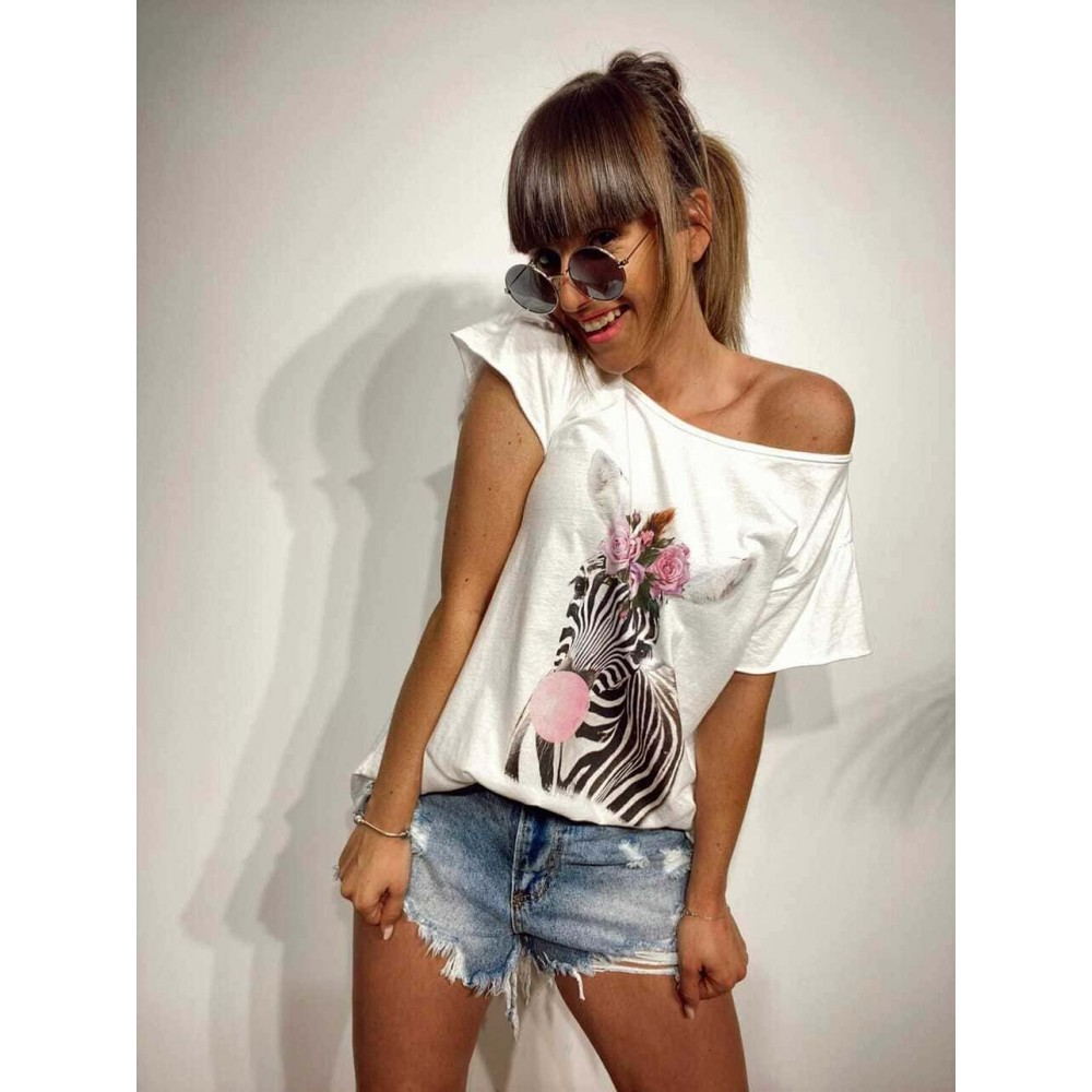 Camiseta Algodón CHIC ZEBRA Blanco Heve