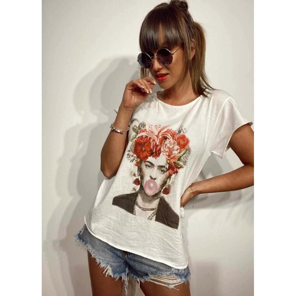 Camiseta Algodón FRIDA BUBBLE Blanco Heve