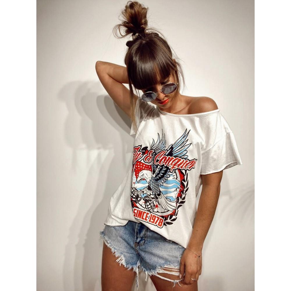 Camiseta Águila FLY AND CONQUER Blanco Heve