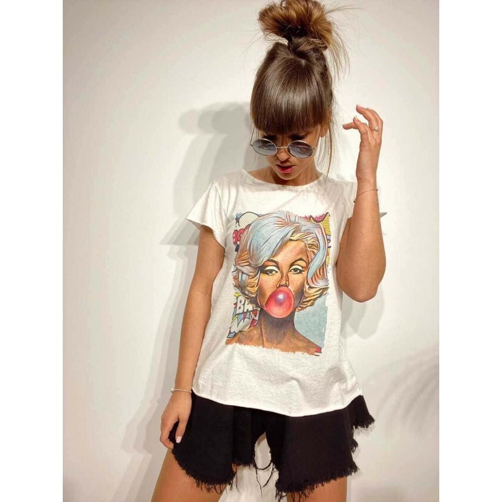 Camiseta Algodón MARILYN COMIC Blanco Heve