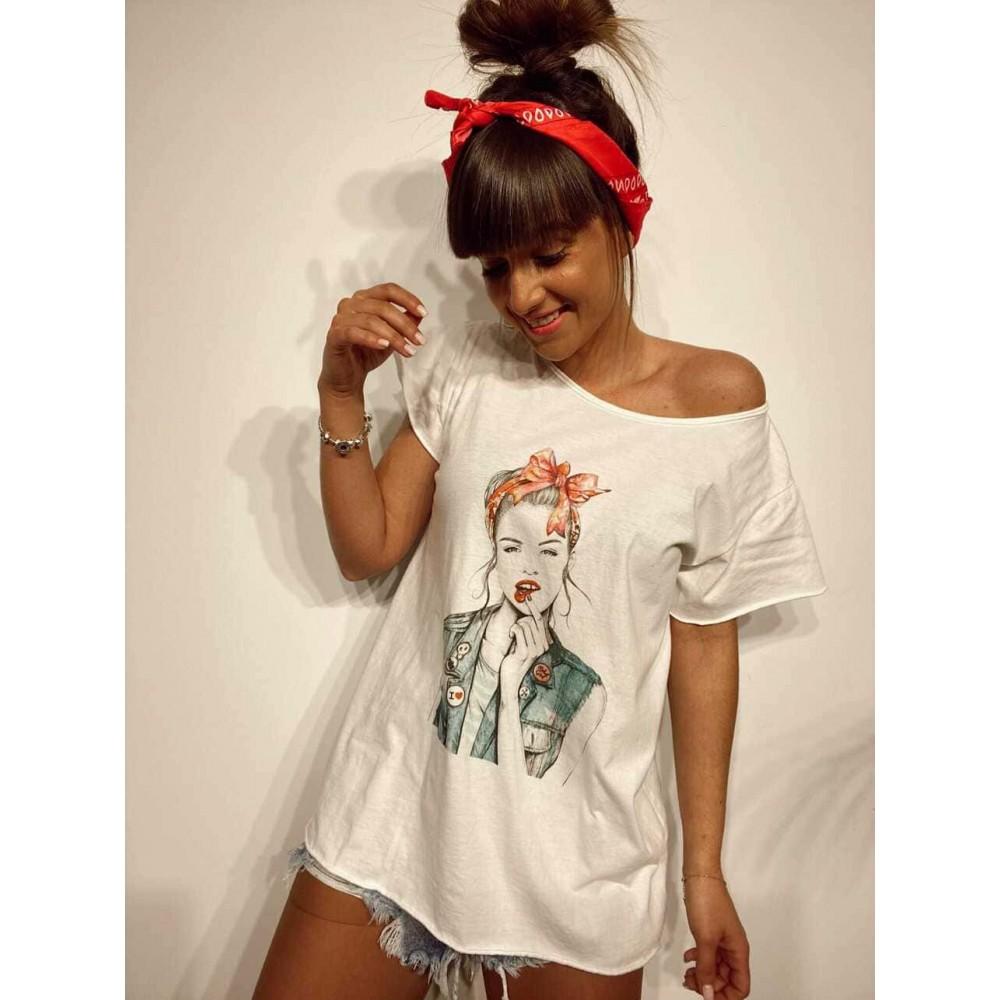 Camiseta Algodón REBEL GIRL Blanco Heve
