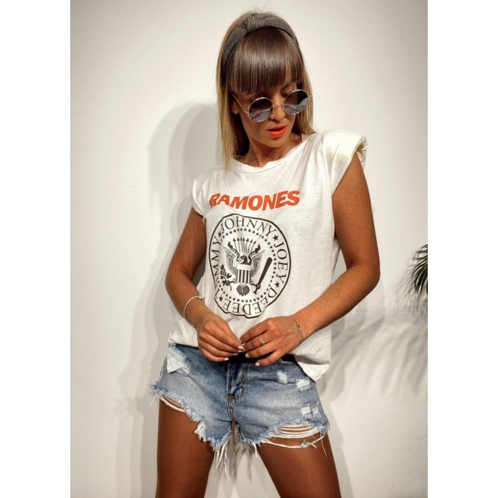 Camiseta Hombreras Escudo RAMONES Blanco Heve