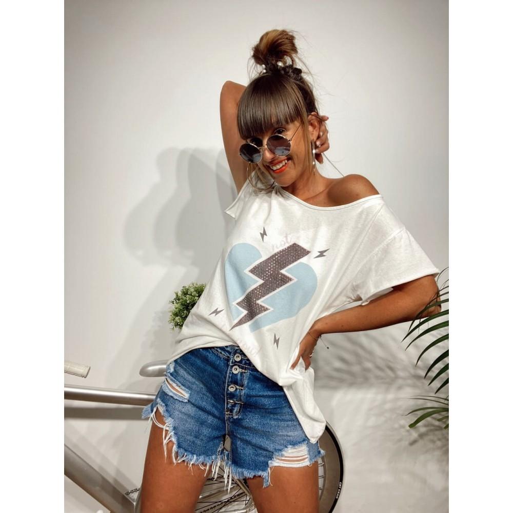 Camiseta Algodón THUNDER LOVE Blanco Heve