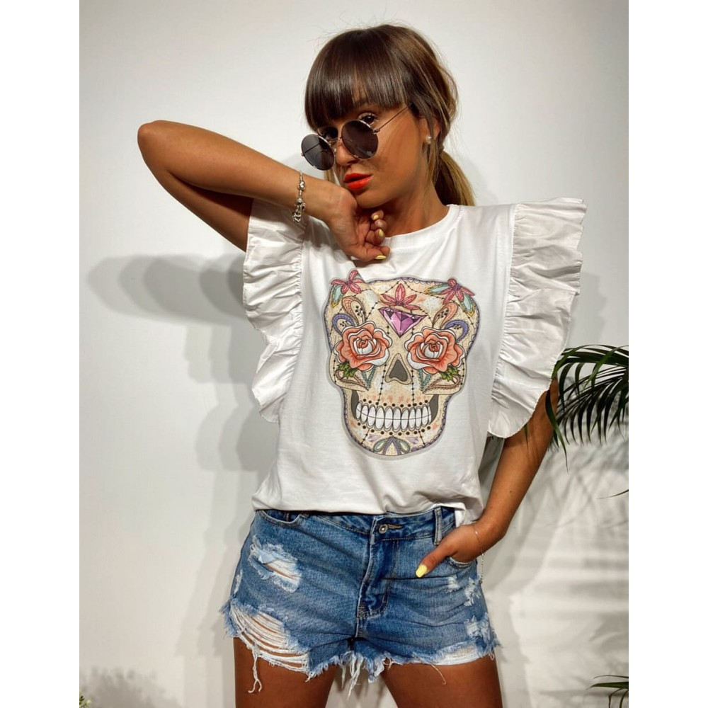 Camiseta Volante CATRINA Blanco Heve