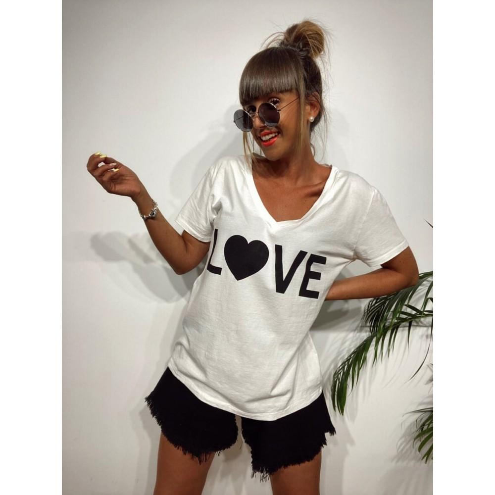 Camiseta Pico LOVE Blanco Heve