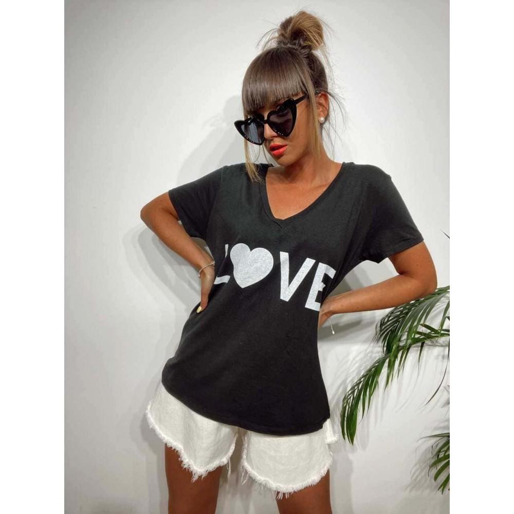 Camiseta Pico LOVE Negro Heve
