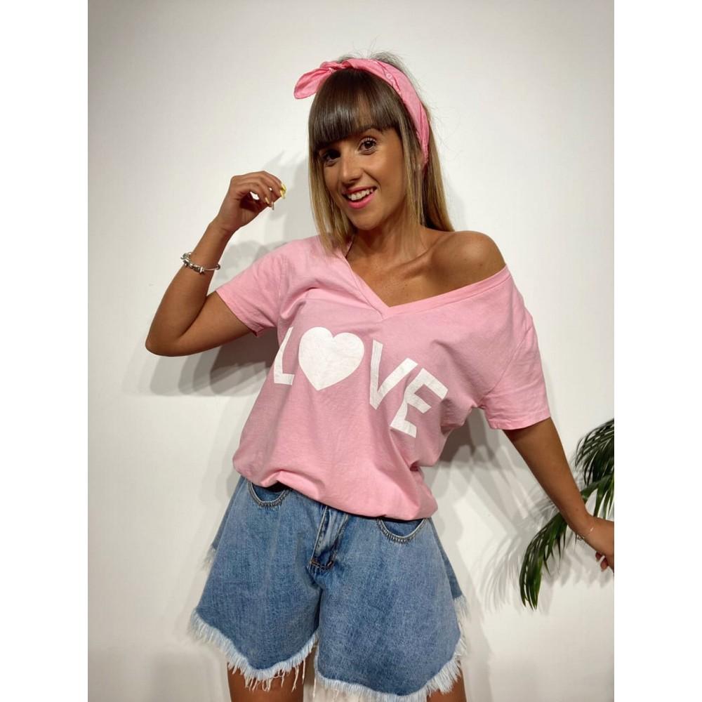 Camiseta Pico LOVE Rosa Heve