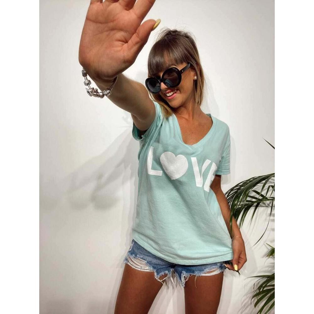 Camiseta Pico LOVE Aguamarina Heve
