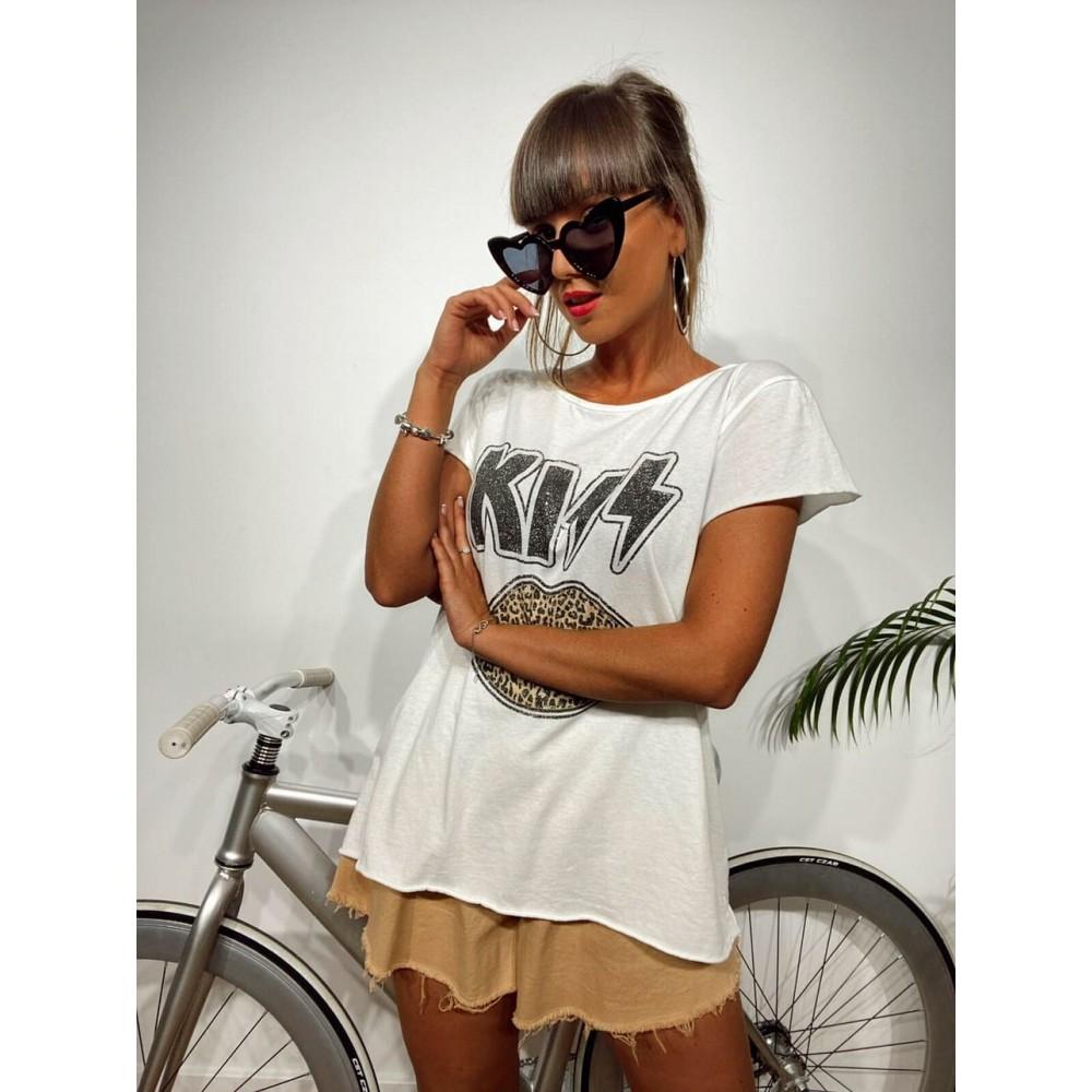 Camiseta Algodón KISS PRINT Blanco Heve