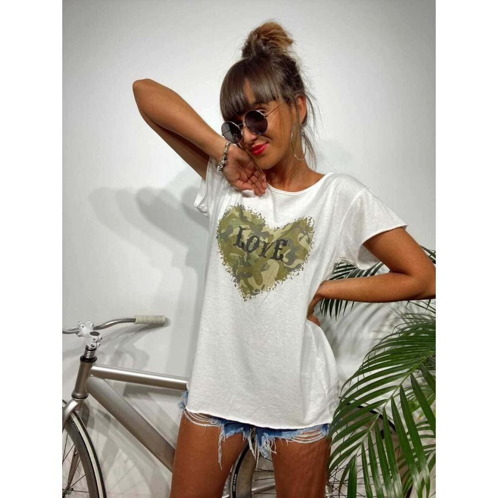 Camiseta Algodón BATTLE LOVE Blanco Heve