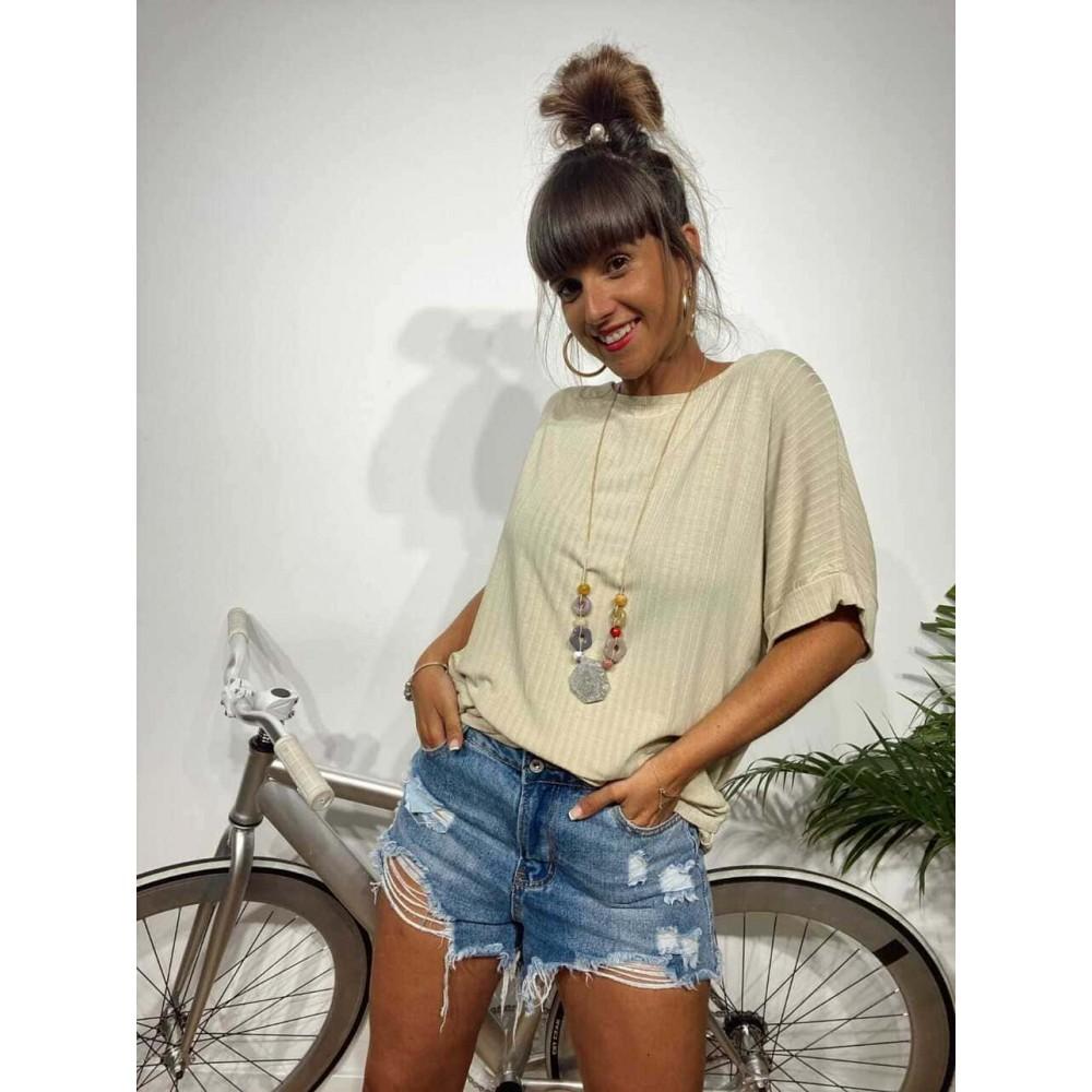 Camiseta Oversize MATILDA Beige Heve