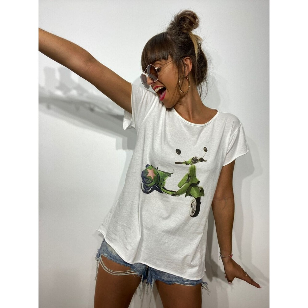 Camiseta Algodón VESPA STAR Blanco Heve