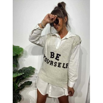 Chaleco Punto BE YOURSELF Beige Heve