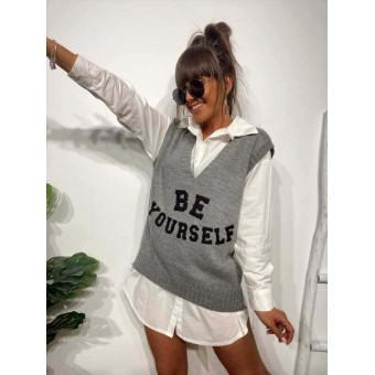 Chaleco Punto BE YOURSELF Gris Heve