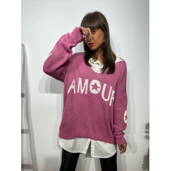 Jersey Oversize AMOUR Rosa Chicle Heve